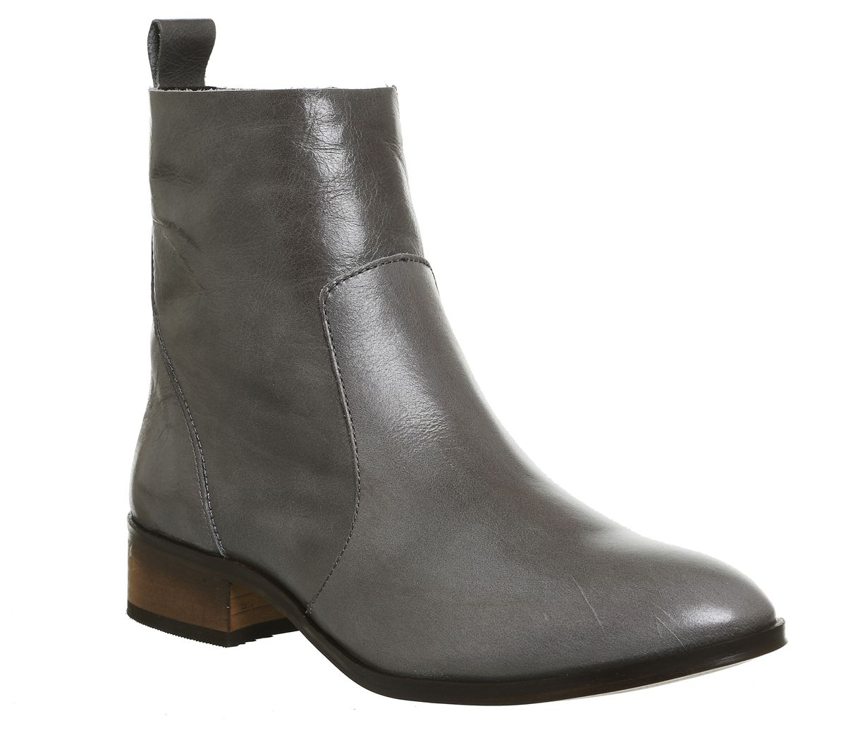 3c59aafcb6342 Office Ashleigh Flat Ankle Boots Grey Leather - Ankle Boots