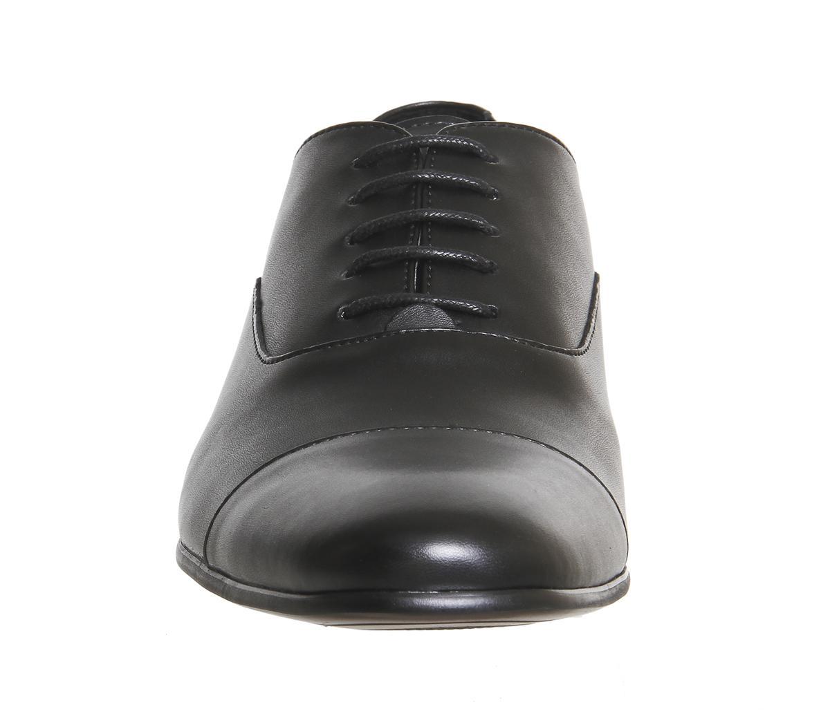 Office Flounder Toe Cap Black Leather