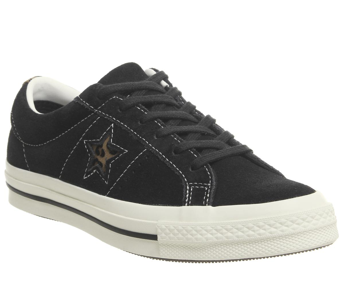 7fa8cc3560 Converse One Star Trainers Black Egret Leopard Exclusive - Hers trainers
