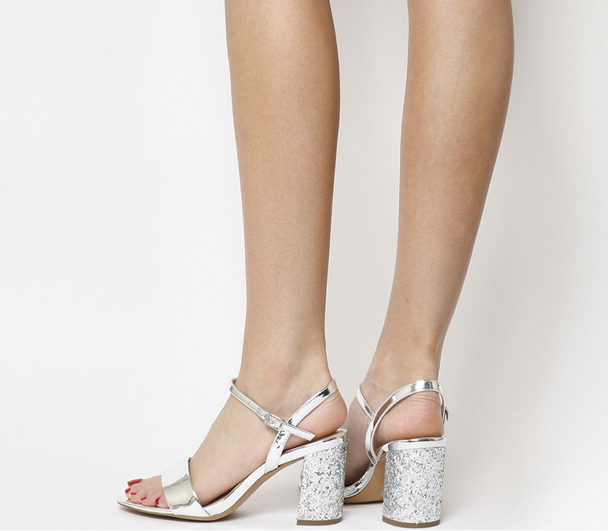 07d66e95f85d Office Millionaire Block Heel Sandals Silver Mirror Silver Glitter ...