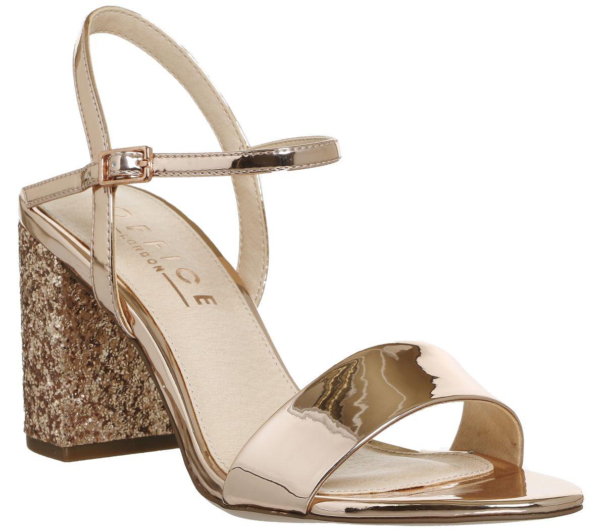 d8d72f25a24b Office Millionaire Block Heel Sandals Rose Gold Mirror - Mid Heels