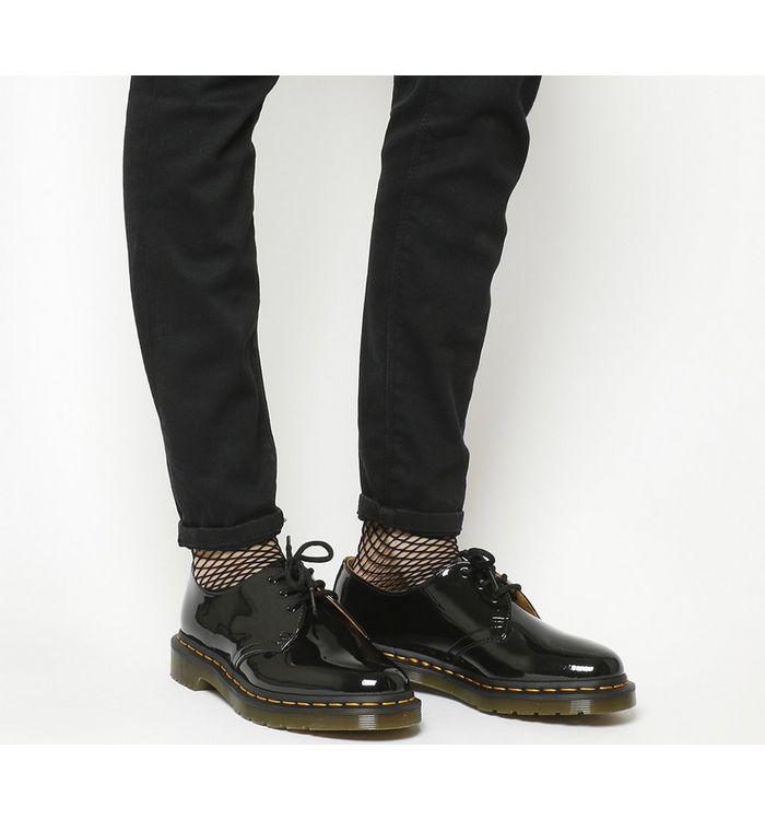 Steckdose online schöner Stil dauerhafte Modellierung Dr. Martens 3 Eyelet Shoes Black Patent - Flats