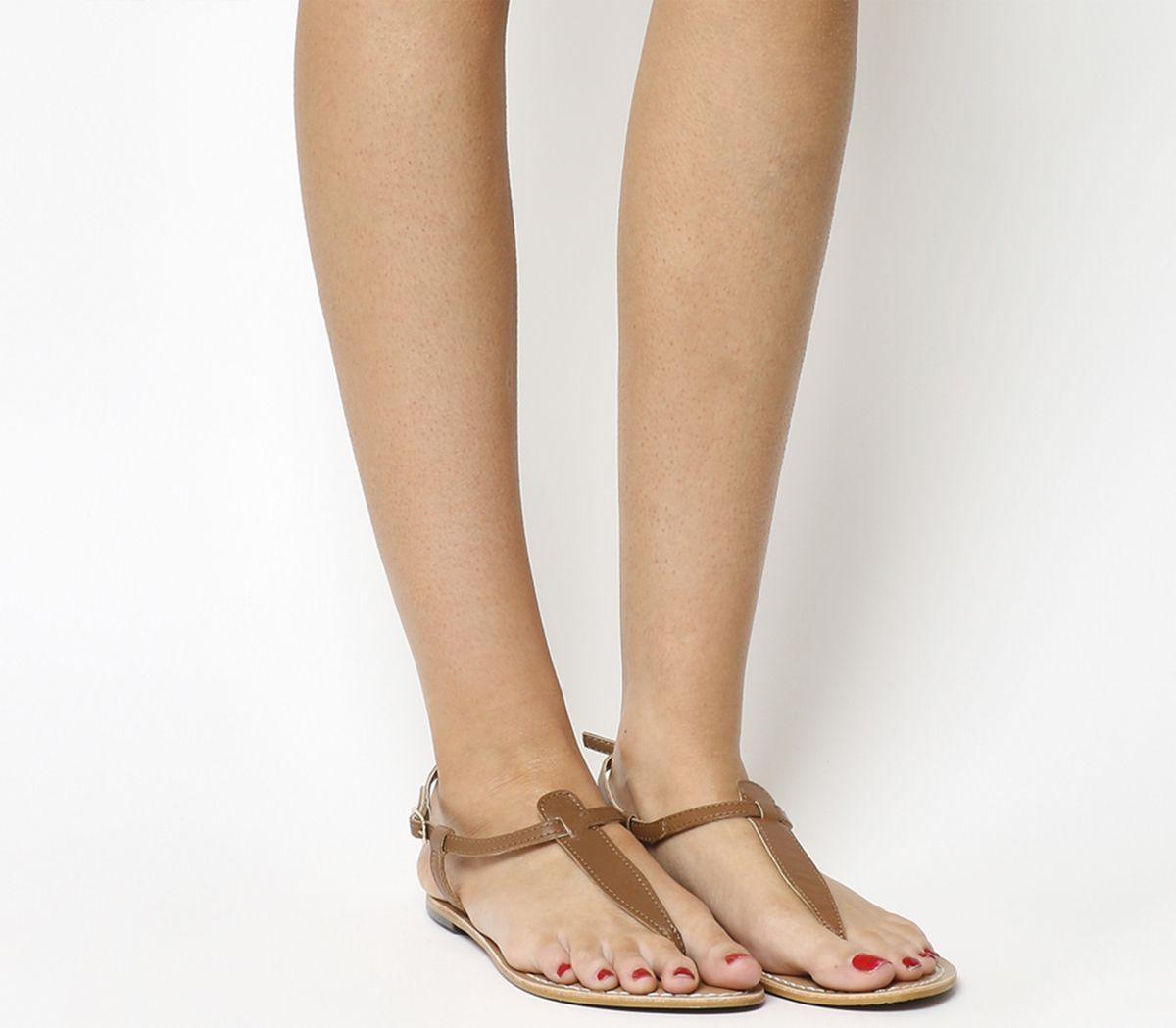 5b5ecf41d074 Office Samba Toe Post Sandals Tan Leather - Sandals