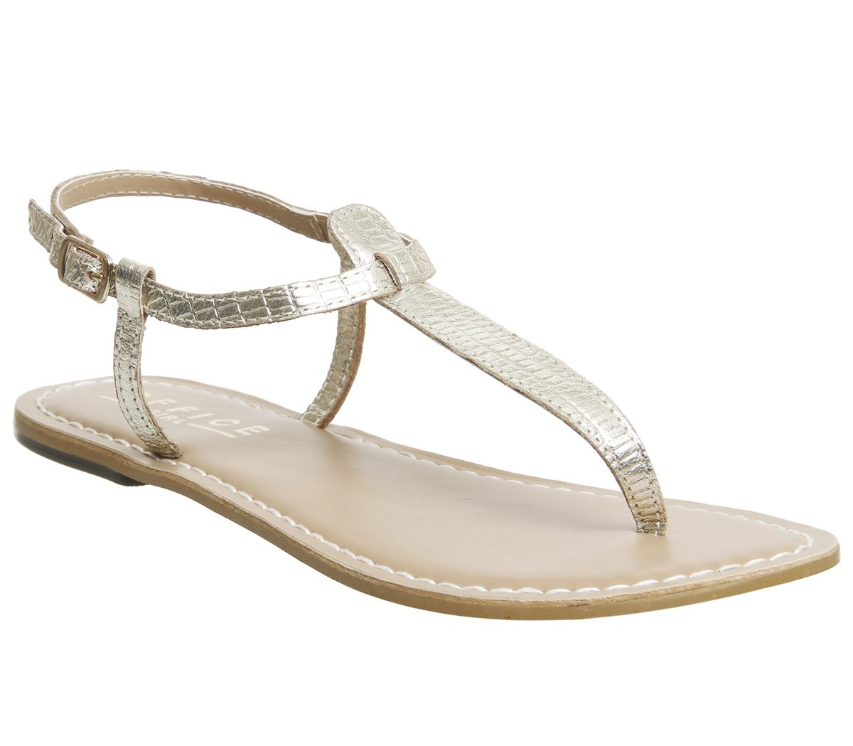 2a3e2981f554 Office Samba Toe Post Sandals Gold Croc Leather - Sandals