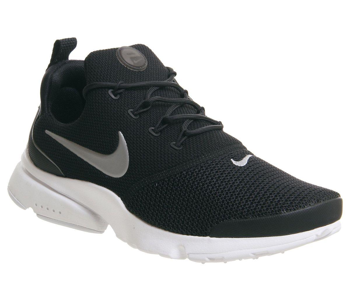 115704d15e70 Nike Presto Fly Trainers Black Metallic Silver White F - Hers trainers