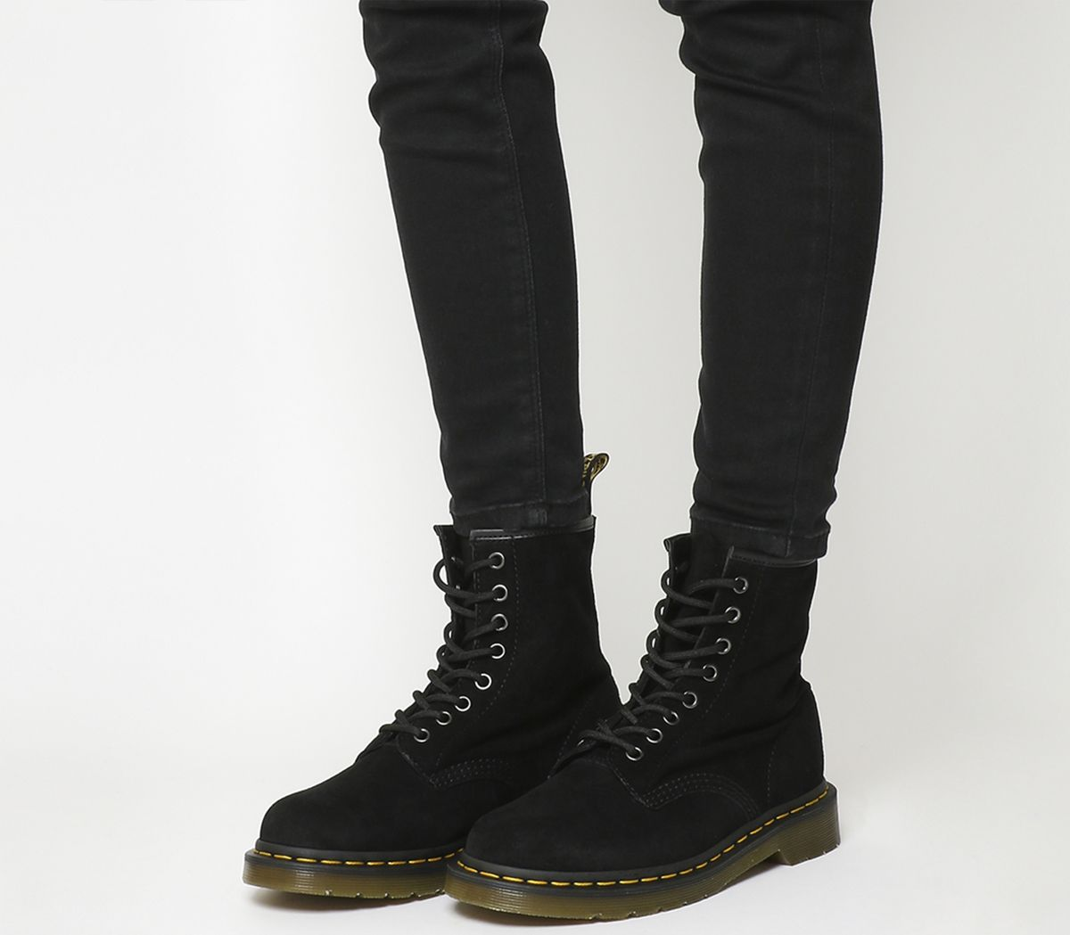 4acbab36bcf9 Dr. Martens 8 Eyelet Lace Up Boots Black Suede - Ankle Boots
