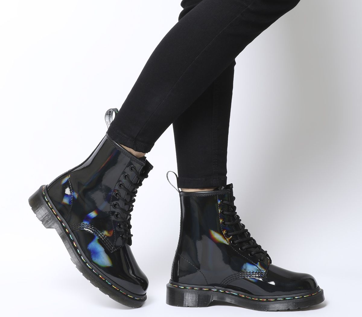 9ad0652aaed306 Dr. Martens 8 Eyelet Lace Up Boots Black Rainbow - Ankle Boots