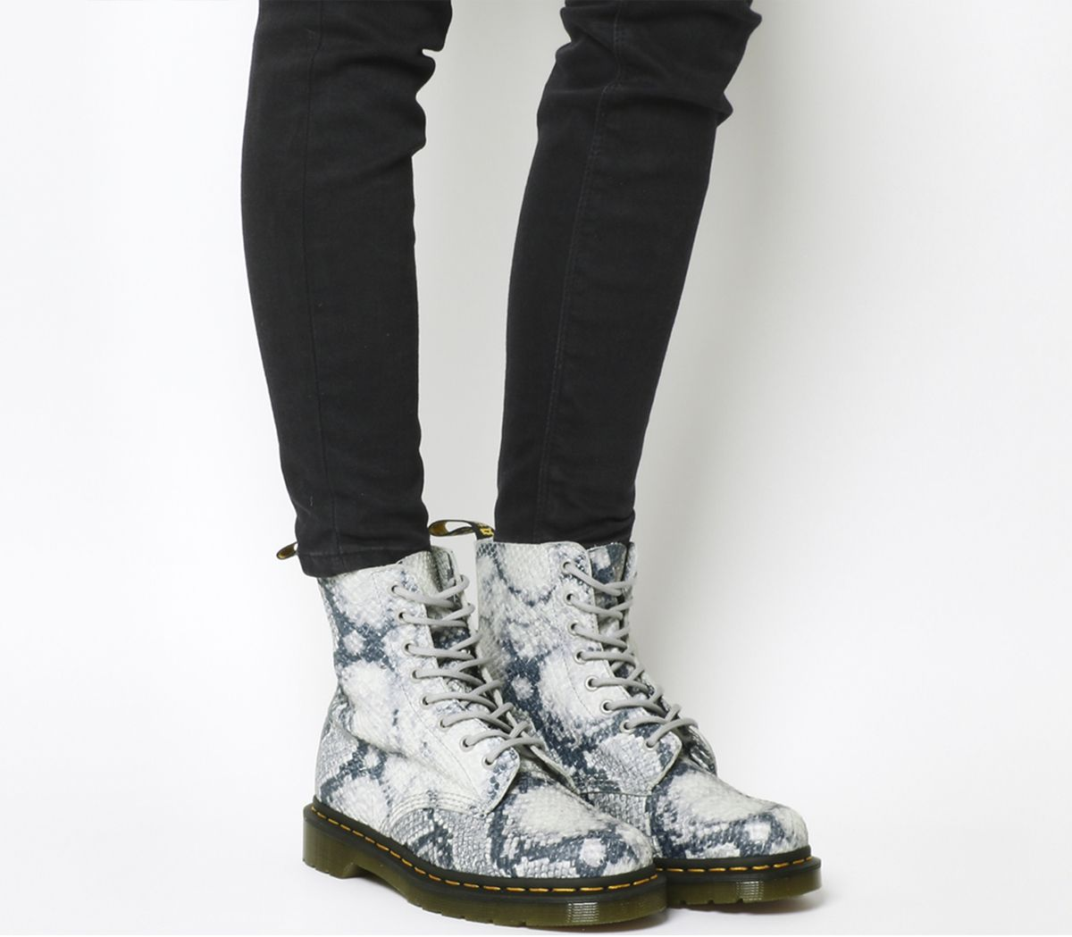 new concept 3da4a ff526 Dr. Martens 8 Eyelet Lace Up Boots Light Grey Metallic Snake Skin ...