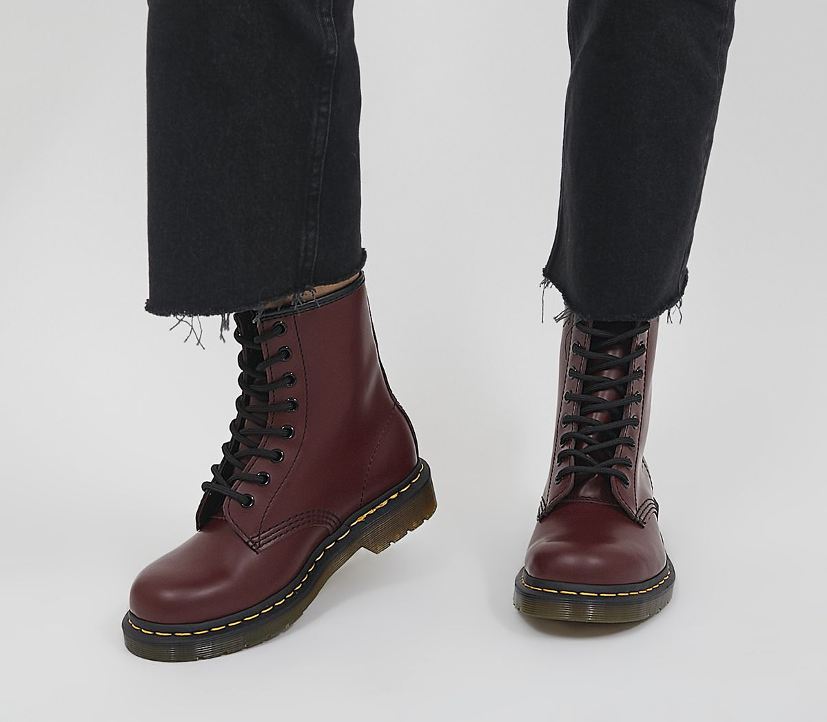 5e181c0e2a779 Dr. Martens 8 Eyelet Lace Up Boots Cherry Red - Ankle Boots