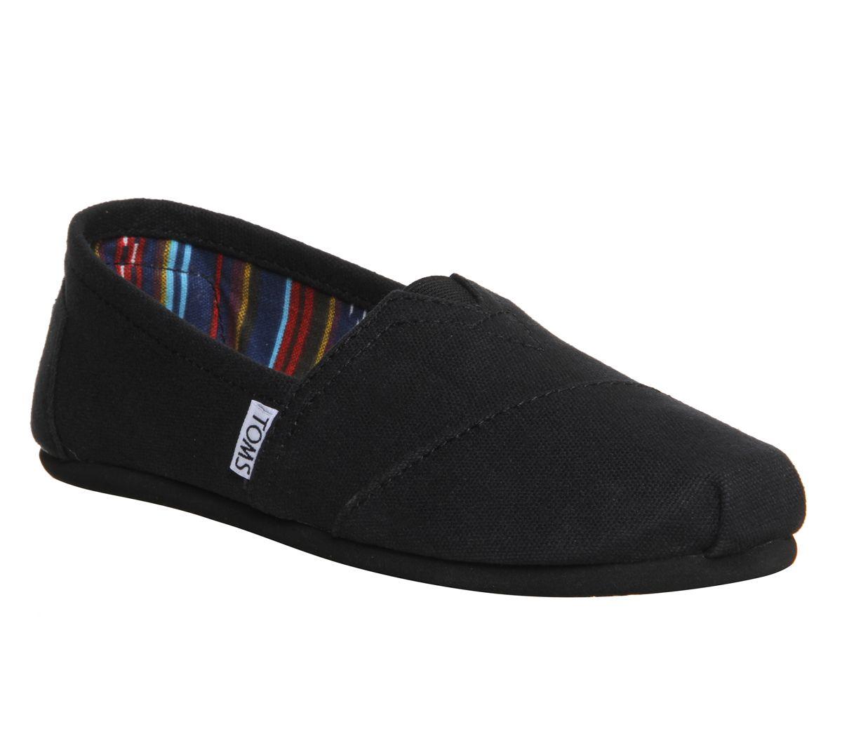 7981faa9645f Toms Classic Slip Ons Black Mono - Flats