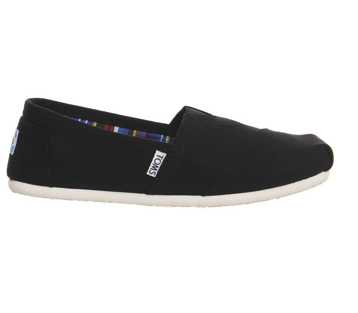 6e18051d2e48 Toms Classic Slip Ons Black Canvas - Flats