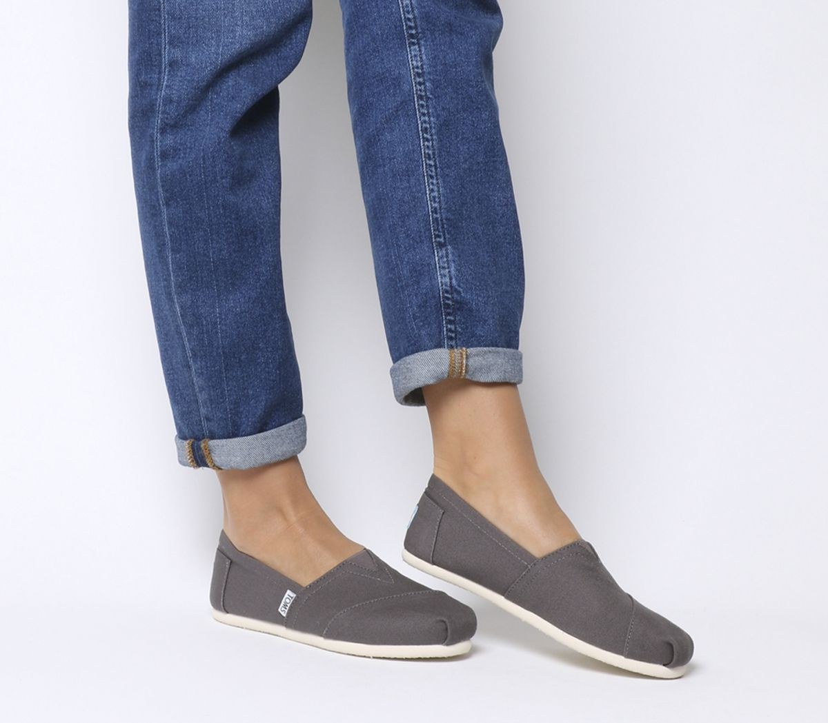 3ced86312 Toms Classic Slip Ons Ash Grey Canvas - Flats
