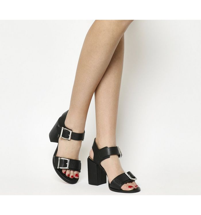 1fbdbbc1f3f Office Modernist Ghillie Block Heel Sandal Silver Mirror - Mid Heels