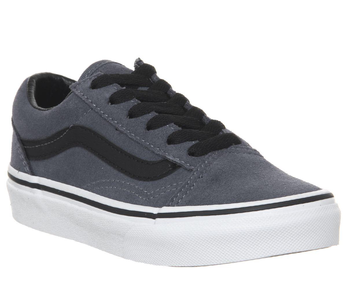 173e180b19c4 Vans Old Skool Lace Kids Trainers Grisaille Blue Black White - Unisex