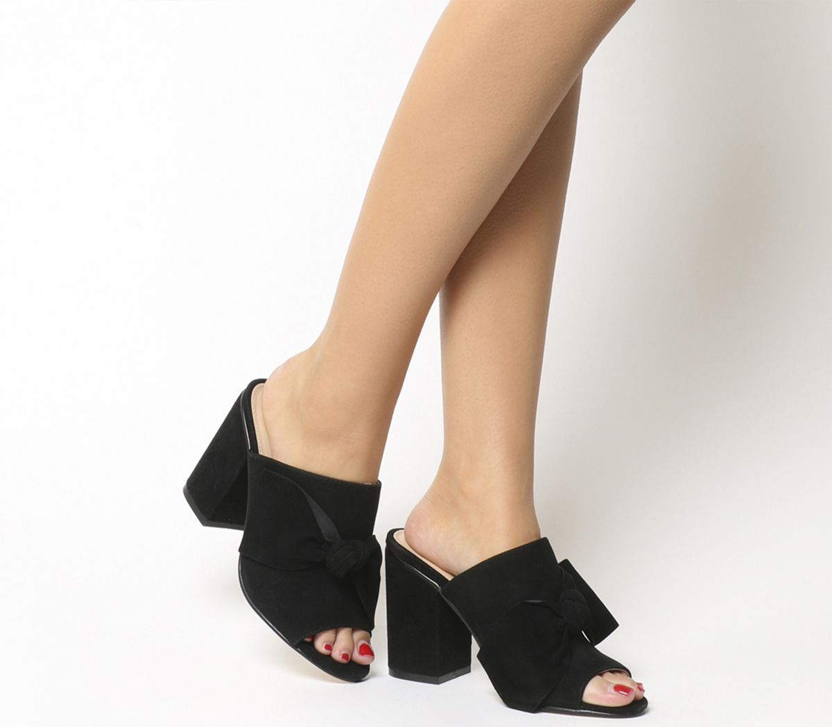 dbc598f926 Office Heather Bow Mules Black Suede - High Heels