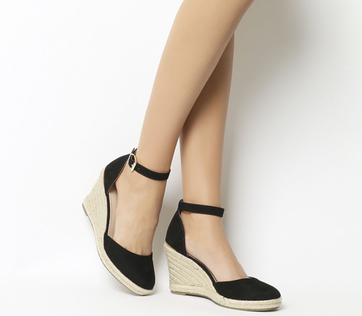 f6499297684 Office Marsha Closed Toe Espadrille Wedges Black With Gold Heel Clip ...
