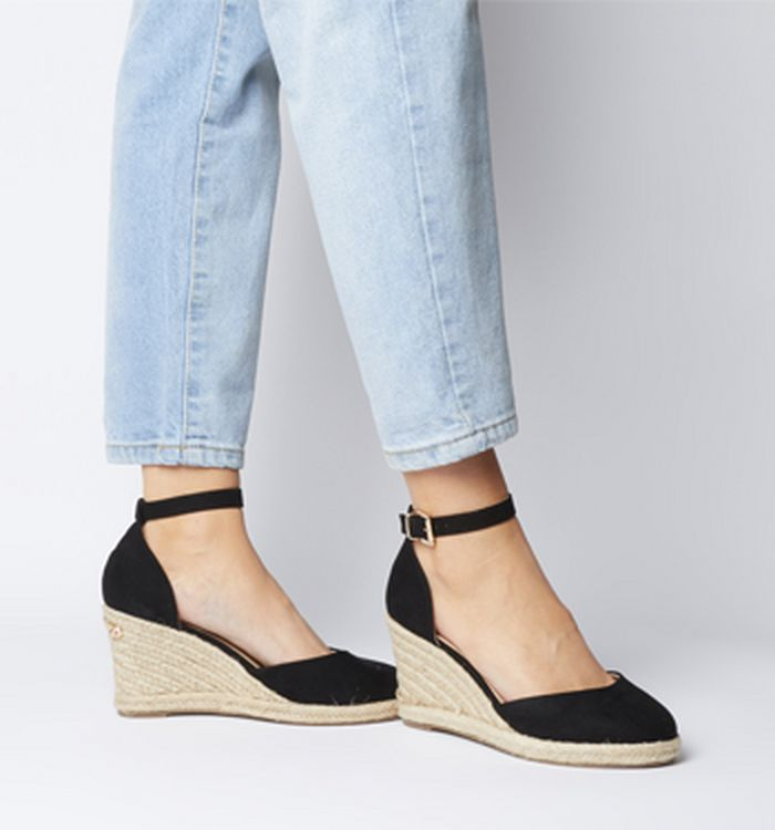 7395f47c9720 08-04-2019 · Office Marsha Closed Toe Espadrille Wedges Black With Gold  Branding