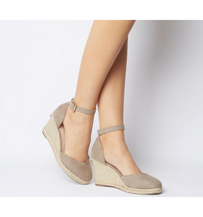 Office Marsha Closed Toe Espadrille Wedge TAUPE WITH GOLD BRANDING