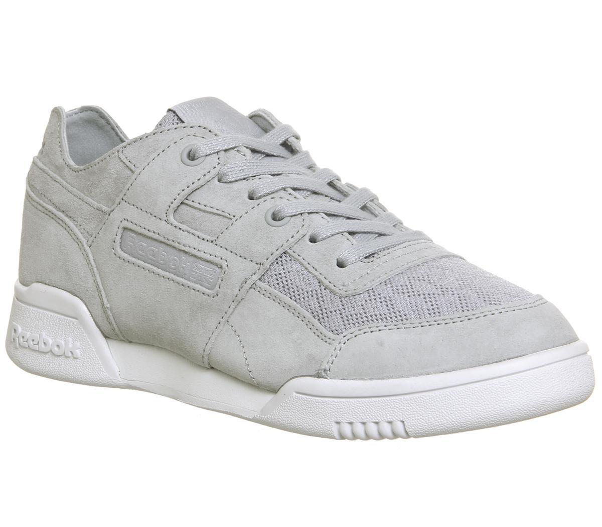 Reebok Workout Low Plus Trainers Cloud Grey White Sneaker