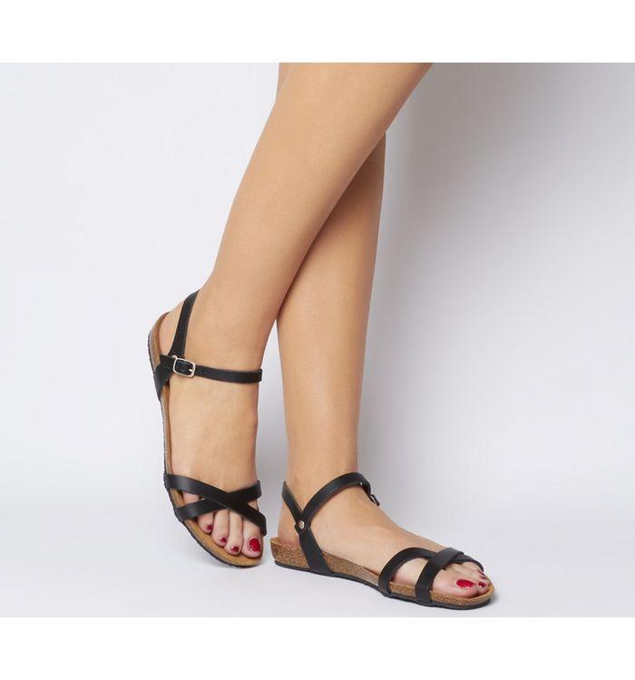 Office Safari Cross Strap Footbed Sandal BLACK LEATHER