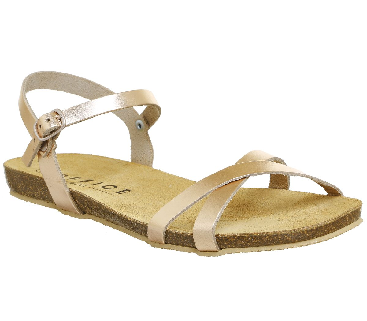eee07a4ed42a Office Safari Cross Strap Footbed Sandals Rose Gold Leather - Sandals