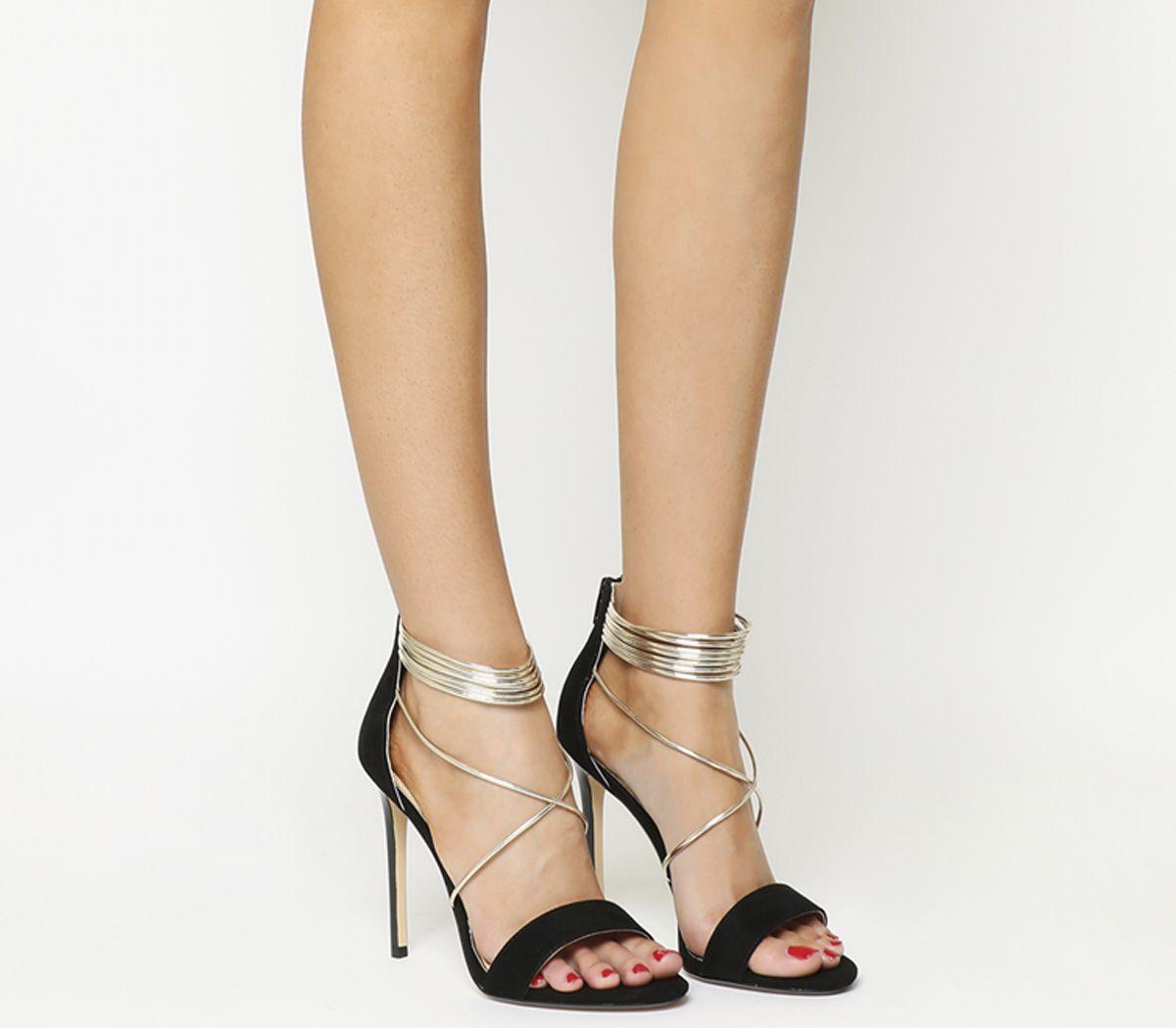 713fbe32bd Office Hollywood Tubular Strap Sandals Black Gold - High Heels
