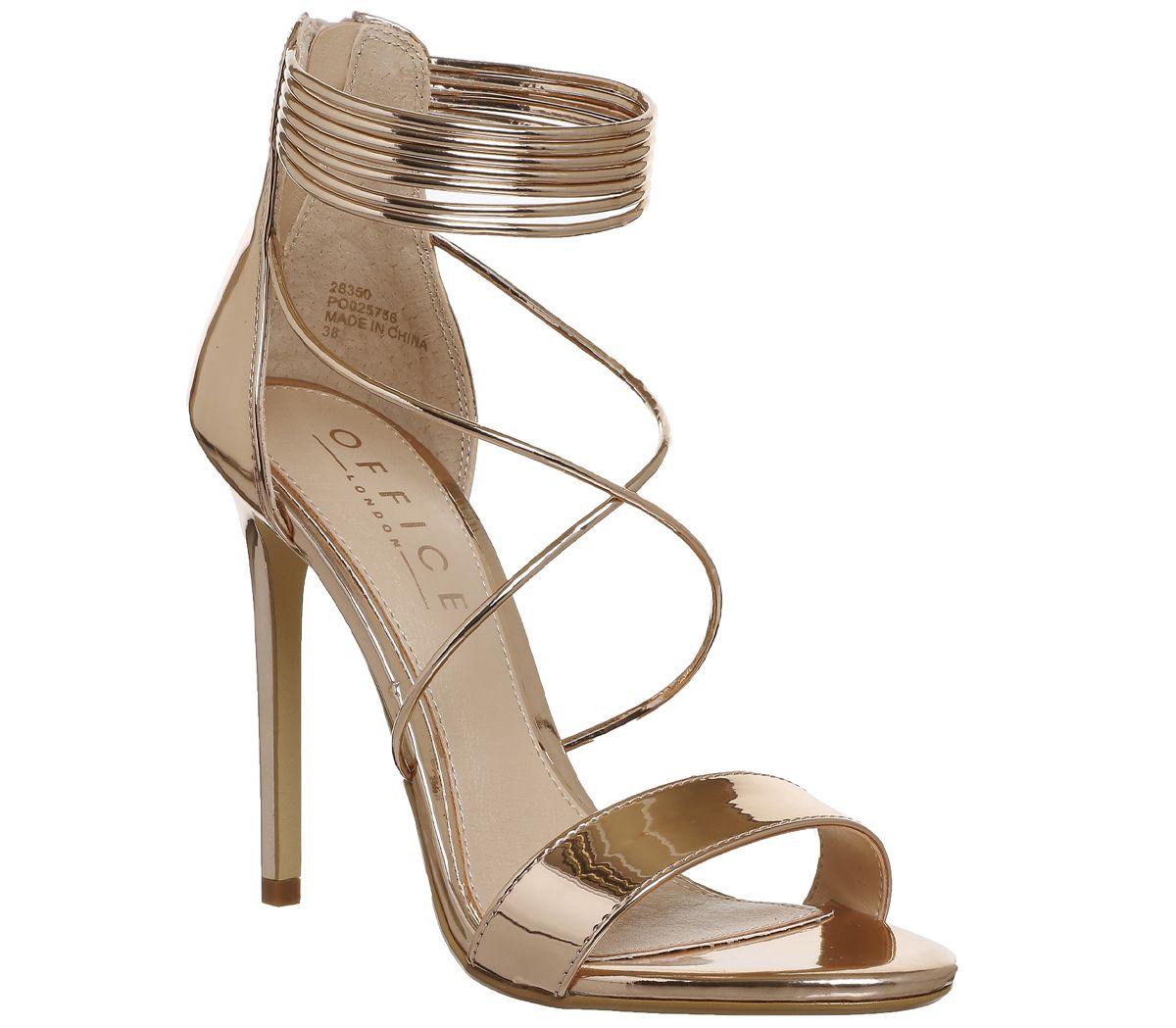d02aab5cc9 Office Hollywood Tubular Strap Sandals Rose Gold Mirror - High Heels