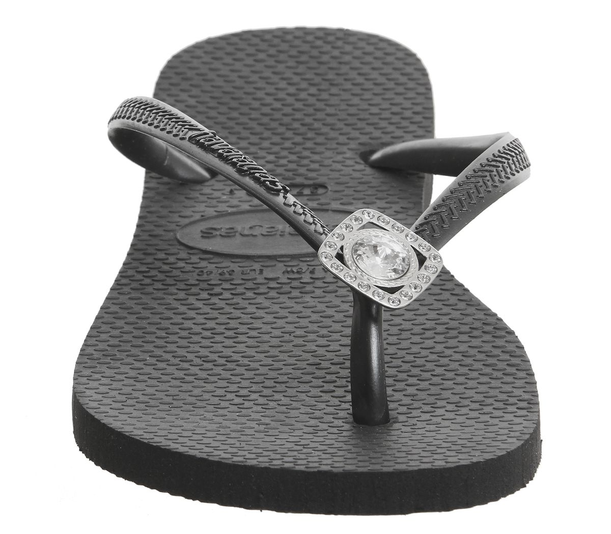ff9898138f07 Havaianas Slim Crystal Poem Flip Flops Black - Sandals