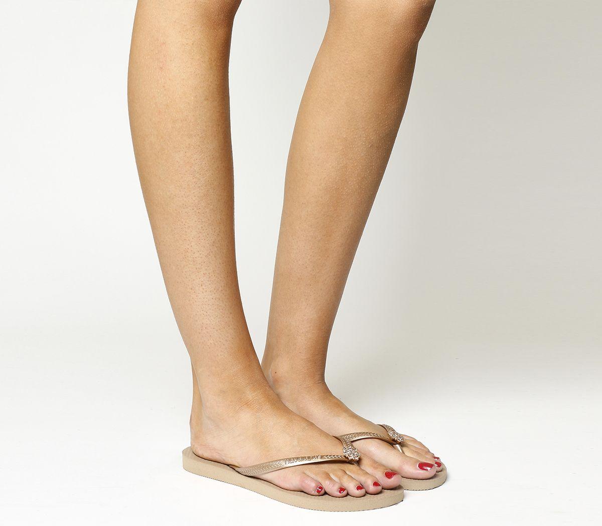 8aeba6c56308 Havaianas Slim Crystal Poem Flip Flop Rose Gold - Sandals