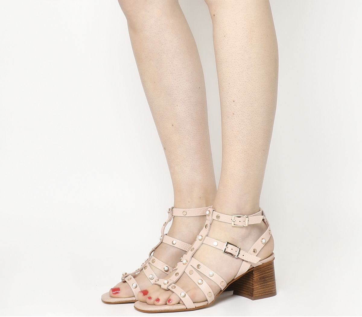 1c0c9d41dc Office Margate Studded Strappy Block Heel Nude Leather - Mid Heels