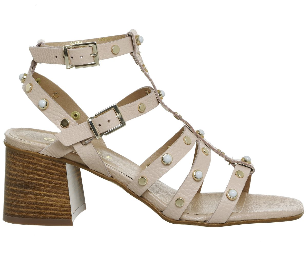 af511c6d948 Office Margate Studded Strappy Block Heel Nude Leather - Mid Heels