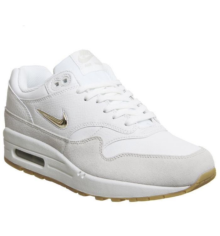 best service 9efca d3c76 ... Nike, Air Max 1 Jewel, Summit White Metallic Gold Star ...