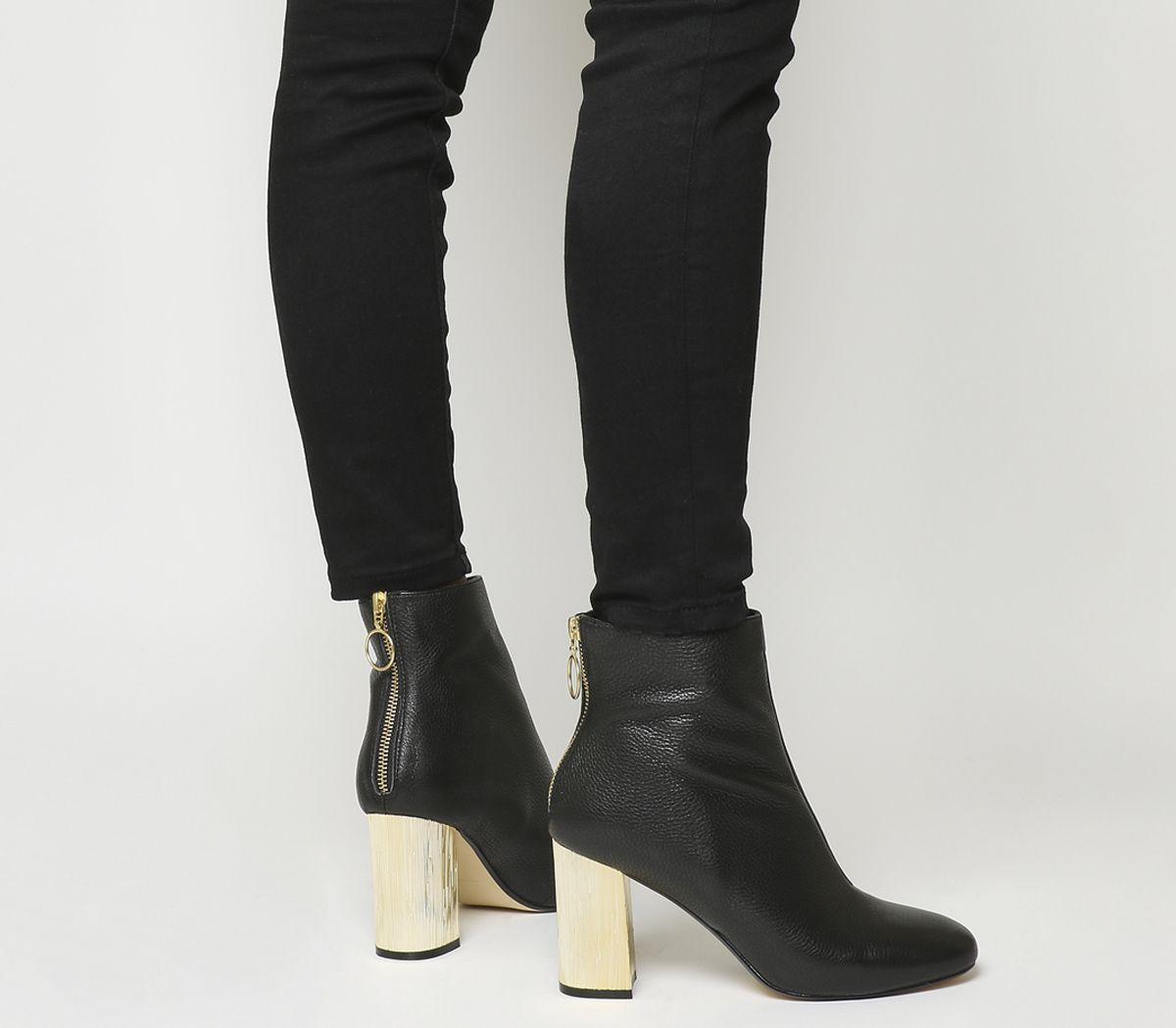 191ffe13d5f Office Alaska Block Heel Ankle Boots Black Leather Gold Heel - Ankle ...