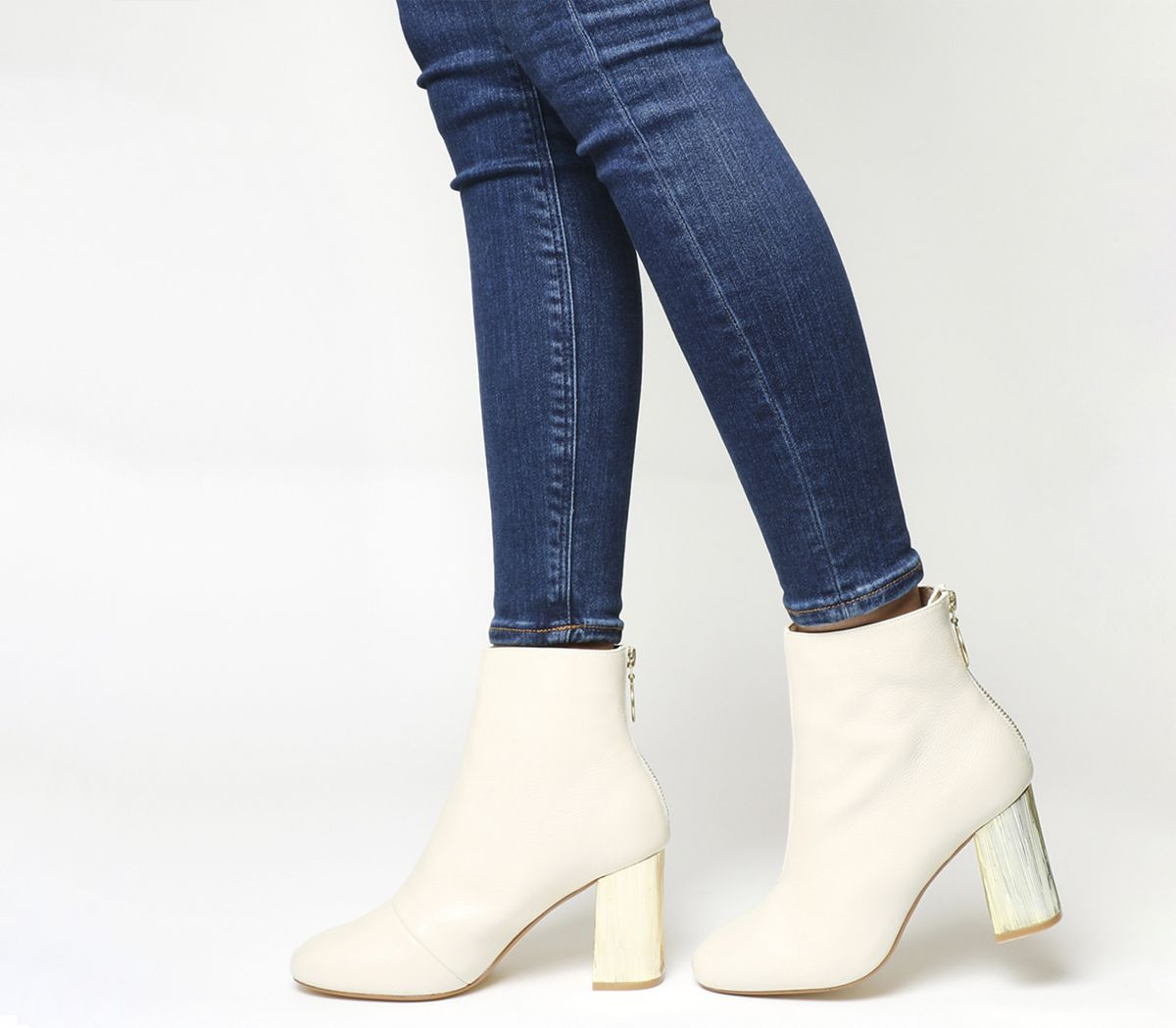 f1381ef56eca Office Alaska Block Heel Ankle Boots Off White Leather Gold Heel ...