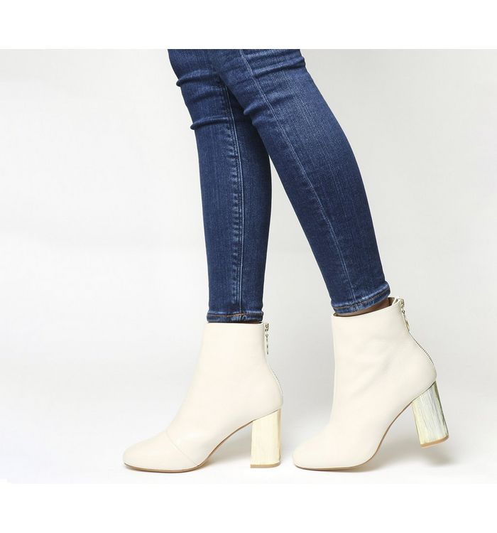 Office Alaska Block Heel Ankle Boot OFF WHITE LEATHER GOLD HEEL