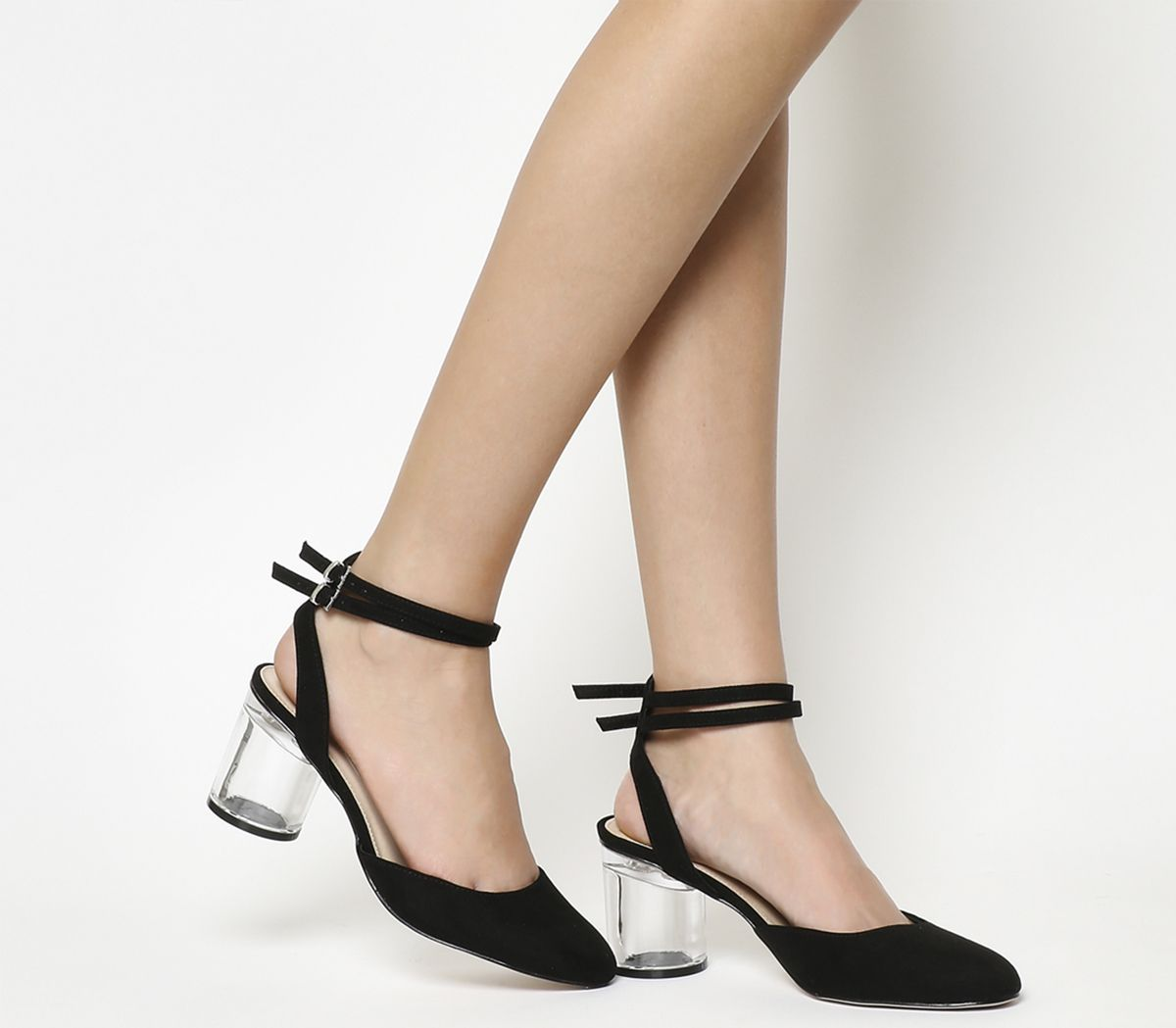 86fae6fc879 Office Mirror Image Clear Block Heels Black - Mid Heels