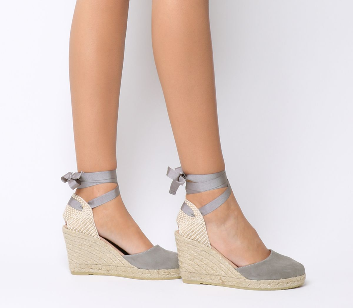 09446d148950 Gaimo for OFFICE Ankle Wrap Espadrille Wedges Grey - Hers Exclusives