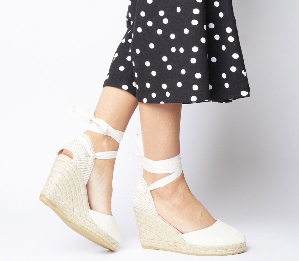 9e027b8ce89 Gaimo for OFFICE Ankle Wrap Espadrille Wedges Natural Canvas - Wedges