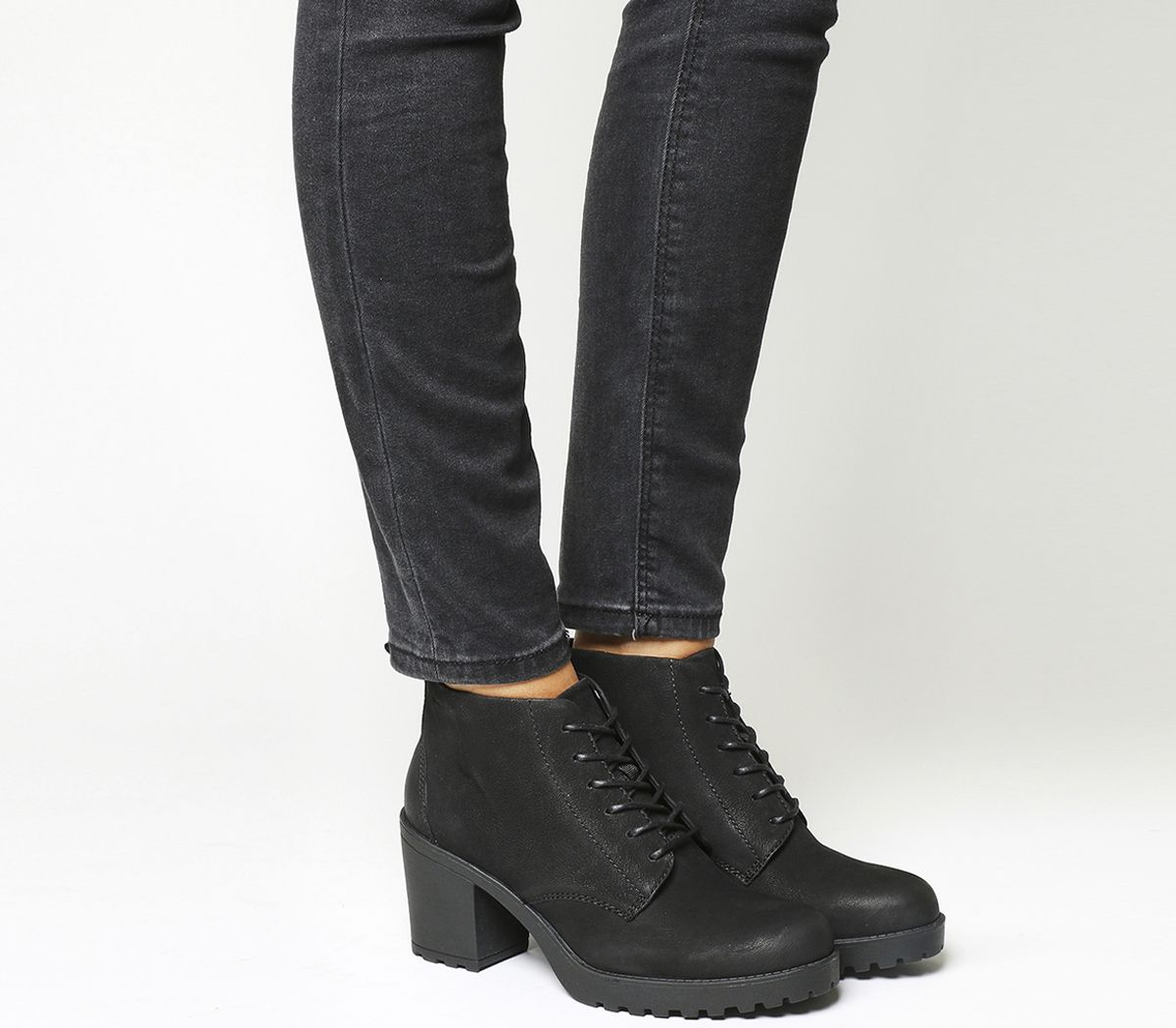 0b4ac1ca382bf8 Vagabond Grace Lace Boots Black Nubuck - Mid Heels