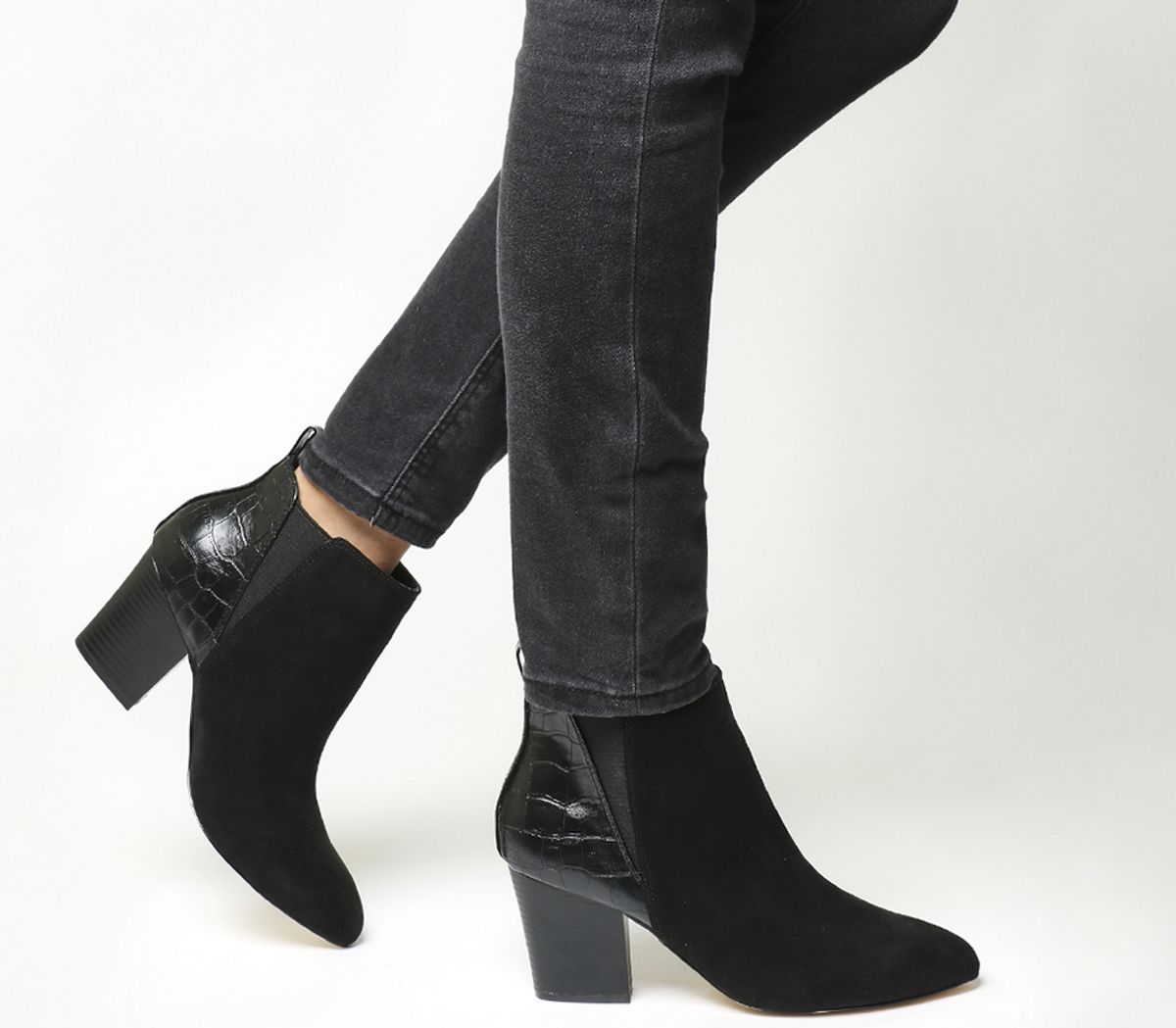 37acdcd56287 Office Anabella Point Chelsea Boots Black Croc - Ankle Boots