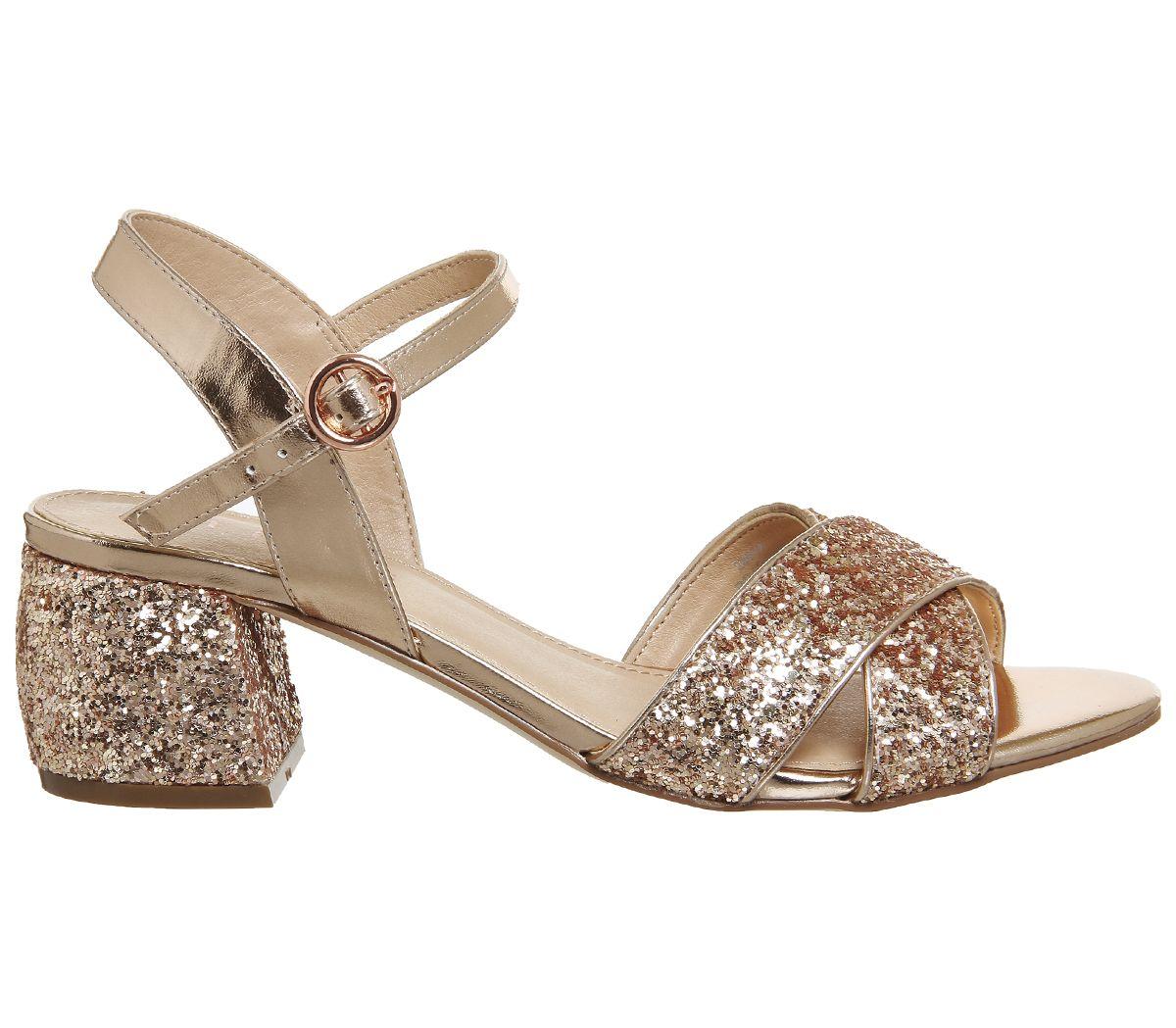 c1c5fce4c1c Office Merlot Block Heel Sandals Rose Gold Glitter - Mid Heels