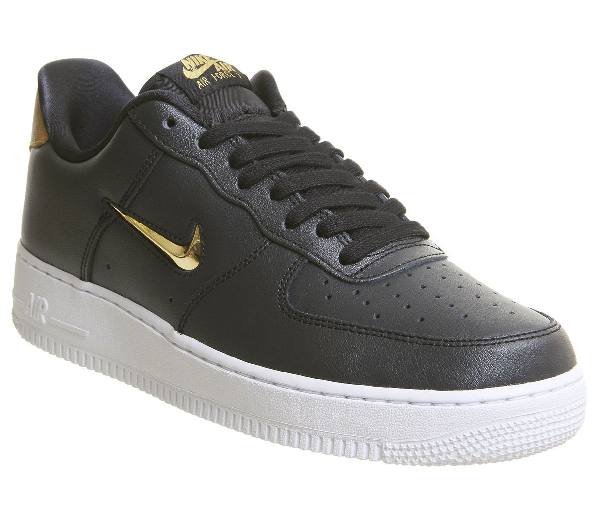 big sale a98d6 7cc31 Nike Air Force 1 Jewel Trainers Black Metallic Gold White - His trainers
