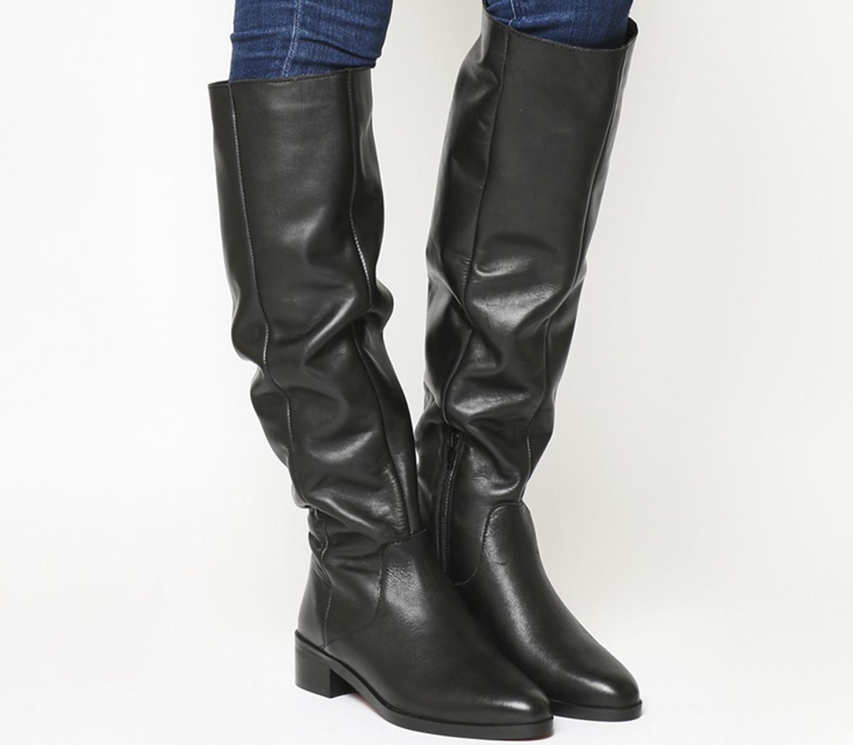 a157601dd7fa Office Kove Flat Slouch Boots Black Leather - Knee Boots