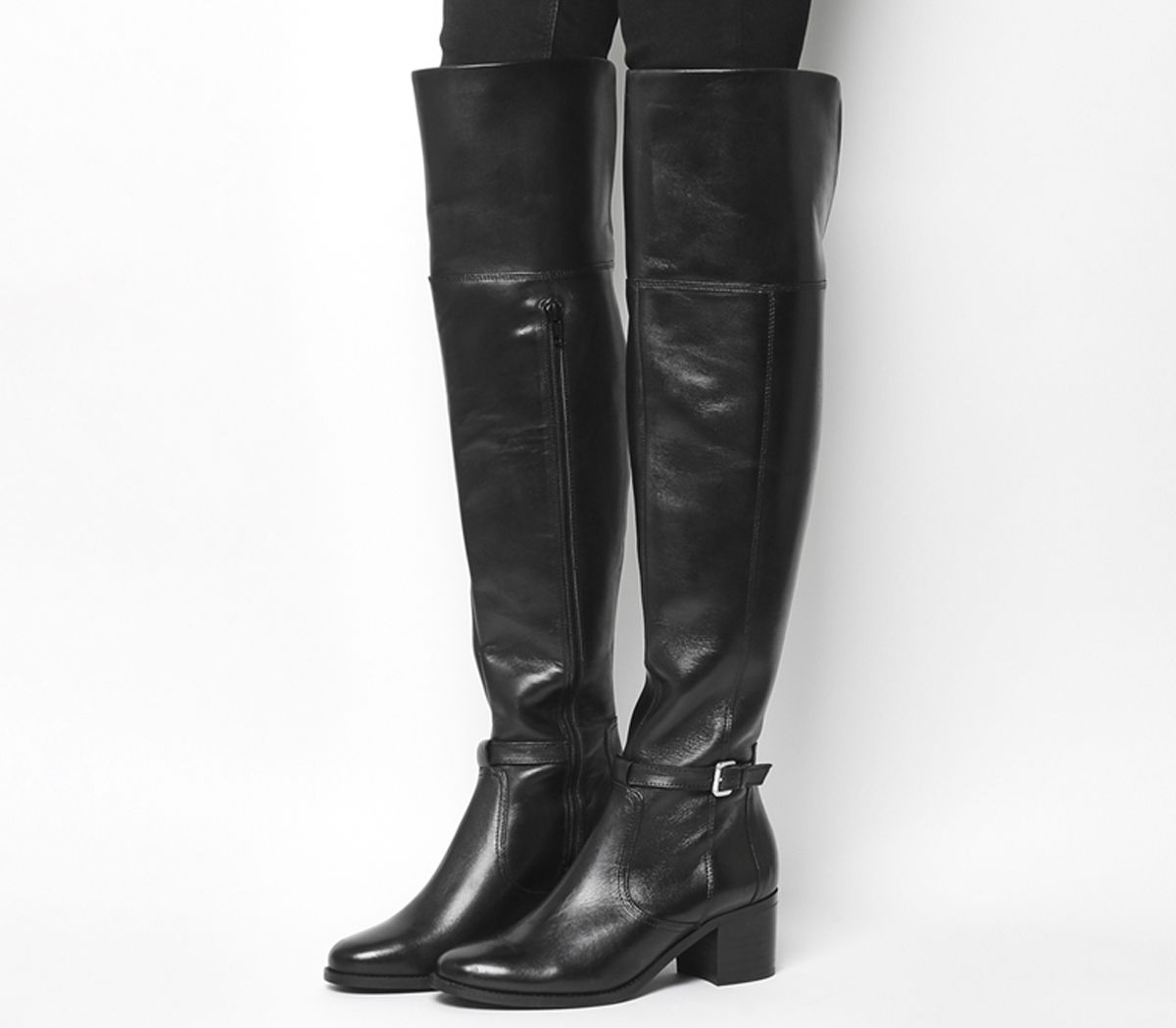 8c0e4b180baf Office Kacey Over The Knee Riding Boots Black Leather - Knee Boots