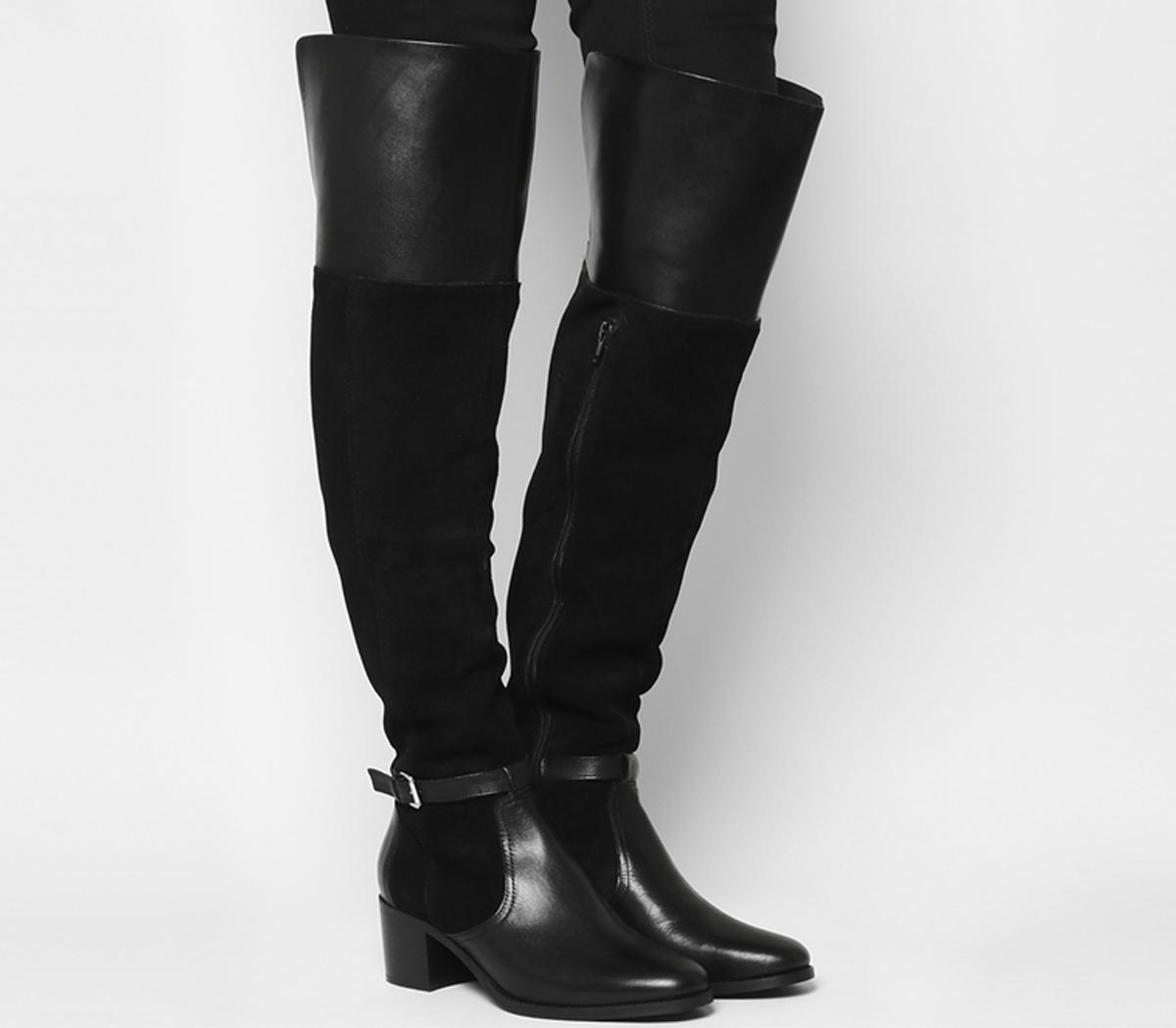 74dbcf072ae Office Kacey Over The Knee Riding Boots Black Suedeleather - Knee Boots