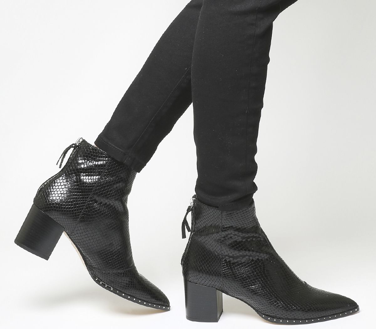 d9a4159443d Office Aromatic Block Heel Boots Black Snake Leather Silver Hardware ...