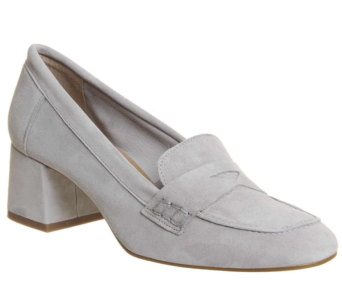 15eccccd93 Office Mod Block Heel Loafers Grey Suede - Mid Heels