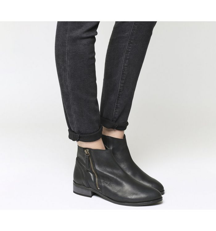 ef2e9017982 Office Andes- Pre Ruched Flat Ankle Boot Black Leather - Ankle Boots