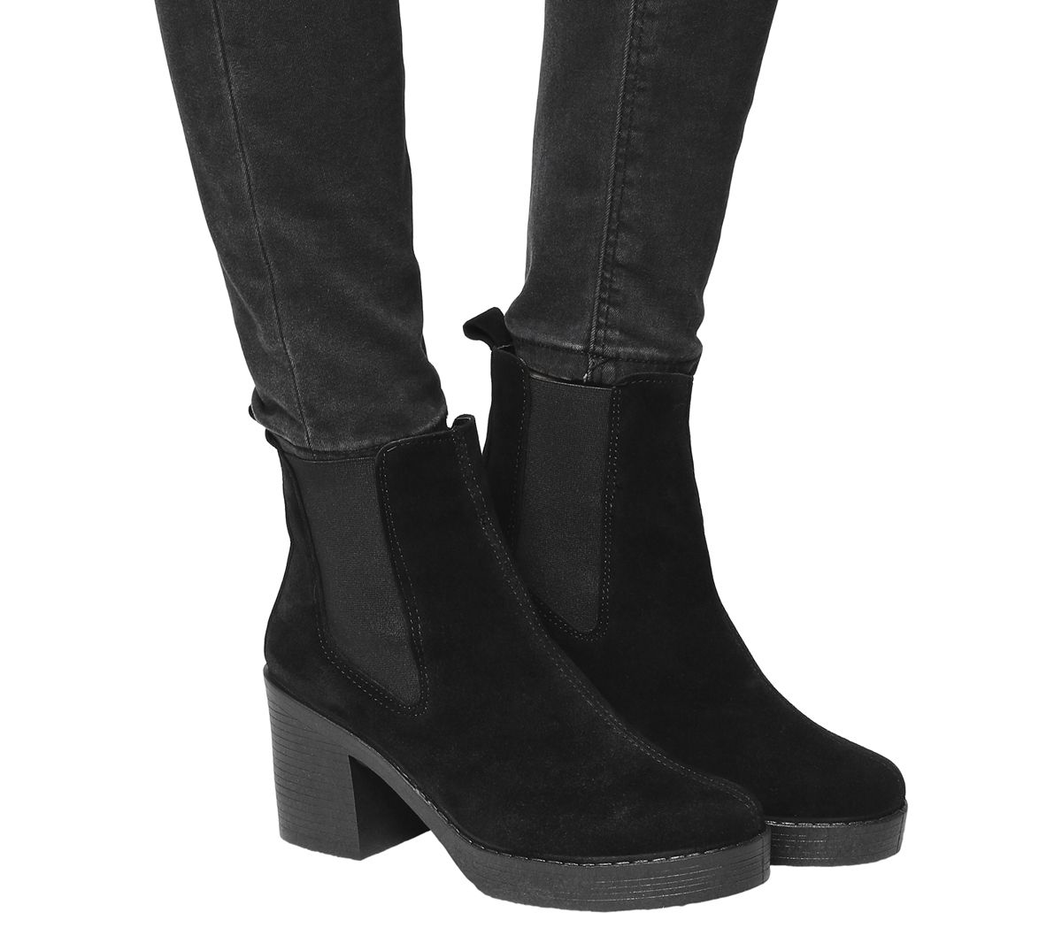 7e88c9a4cbcb Office Alesha Block Heel Chelsea Boots Black Suede - Ankle Boots