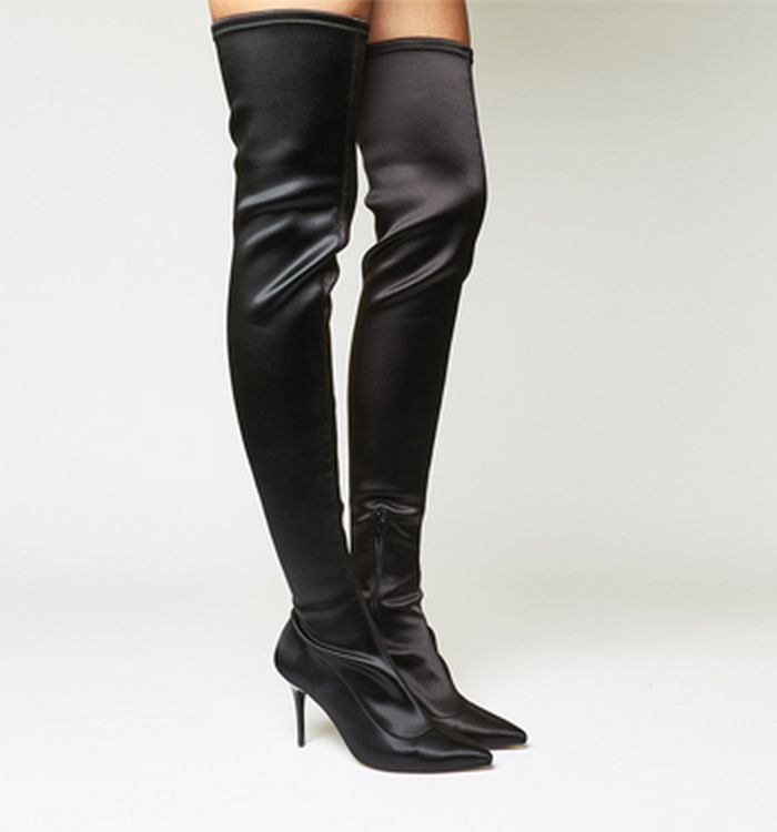 1671c4a0b1 10-08-2017 · Office Kiss And Tell Stretch Over The Knee Boots Black Satin  Stretch. vorher: 155 ...